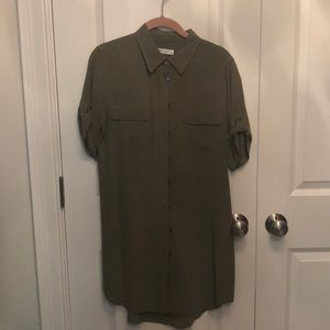 Midi silk army green shirt dress.